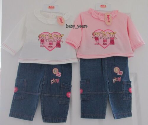 BABY GIRL SOFT DENIM JEANS TROUSERS /& LONG SLEEVE JUMPER TOP GIRLS OUTFIT SET