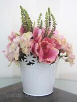 Pink Tulip Heather Hydrangea White Planter Artificial Silk Flower Arrangement