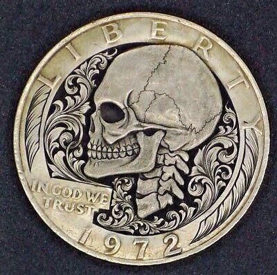 Hobo Nickel Carving RARE Skeleton - Paolo Curcio IKE Big One Dollar Coin MR  THE | eBay