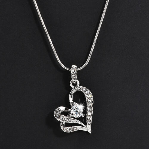 Chic Women Crystal Rhinestone Love Heart Pendant Necklace Silver Plated Jewelry