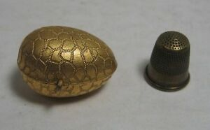 vtg Crackle Brass Egg THIMBLE Holder with Child Size Thimble Sewing Chatelaine