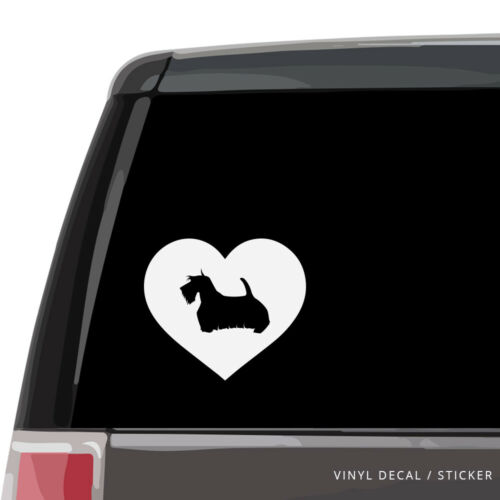 Vinyl Sticker laptop wall Scottish Terrier Silhouette Heart Car Window Decal