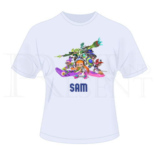 Personalised Childrens Boys Girls Splatoon T-Shirt White