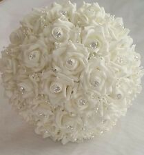 "9"" Bridal Bouquet Wedding Artificial Ivory Roses Diamantes Pearls Hand Crafted"