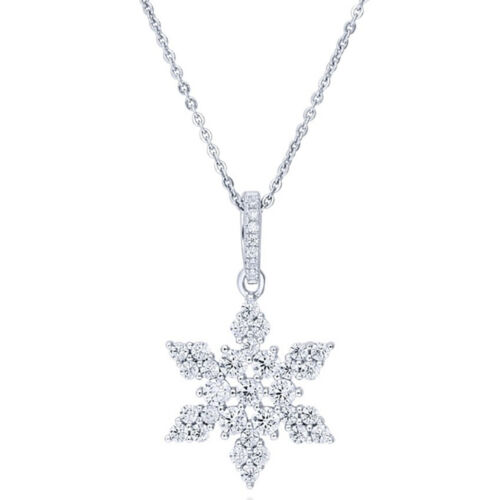 Sterling Silver .925 CZ Cubic Zirconia Fashion Snow Flake Star Pendant Necklace
