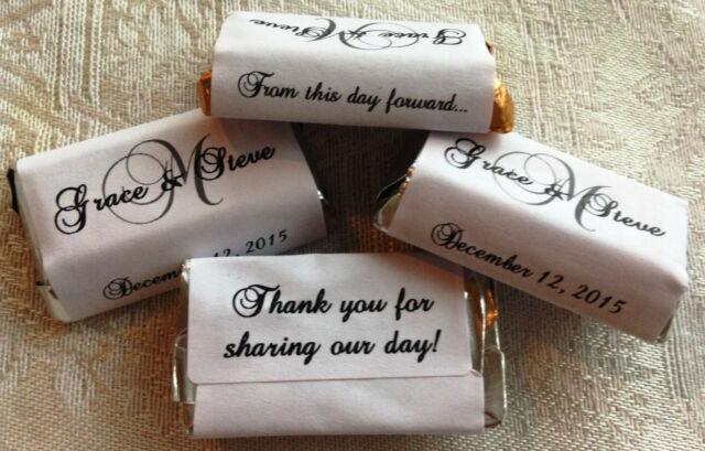 270 MONOGRAM WEDDING Candy wrappers/stickers/labels FAVORS 4 HERSHEY MINIATURES