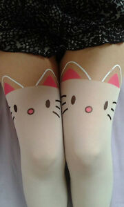 Cute-White-Cat-Tights-one-size-UK-8-12