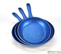 Flavorstone Blue Stone Marble Coated Frypan Set 3 Cookware Fry Pan Induction