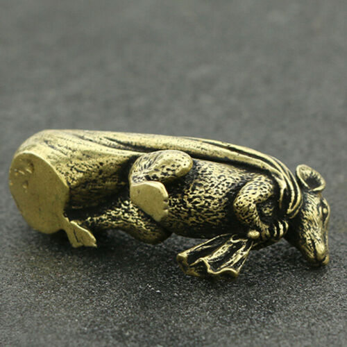 Figurine Souris Bureau Sac d/'argent Cuivre Laiton Animal Rat Artisanat Maison