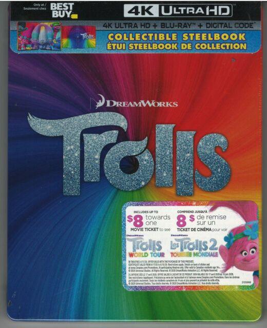 Trolls (SteelBook) (4K Ultra HD) (Blu-ray Combo) (Digital) NEW