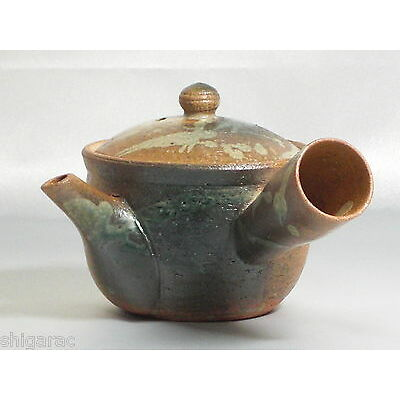 "Shigaraki Stoneware Kyusu Tea Pot ""Classic with White"" / H10cm Japanese"