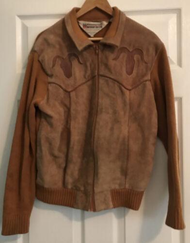 Vintage Windbreaker Western Suede/knit Mens Jacket