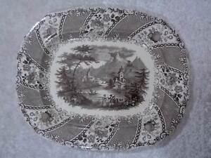 XXL-Ws-amp-Co-Tourist-Ceramics-Serving-Platter-Vintage-around-1900-49-cm-x-41