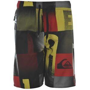 Quiksilver-Boys-mot-Carreaux-Shorts-Noir-Blanc-Jaune-Rouge-Age-13-ans-B423-12