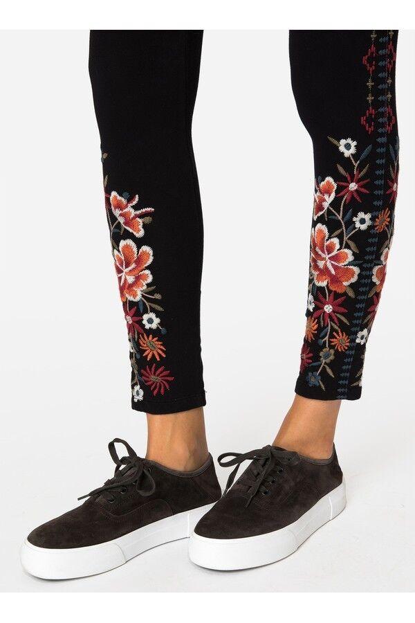 Nuevo con etiquetas Johnny Grande L Bordado  LEGGINGS LEGGING Was Pantalón Negro ureallyneedthese  ventas directas de fábrica
