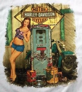 Harley davidson pin up girl gas pump white shirt nwt mens large ebay image is loading harley davidson pin up girl gas pump white freerunsca Images