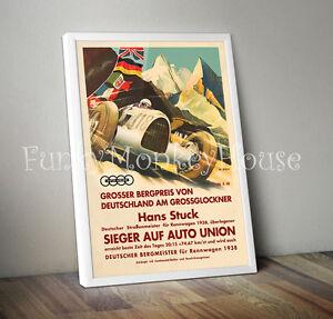 Vintage car poster car racing motorsport 50s 60s A4 Bugatti Spa 1934 Dreyfus