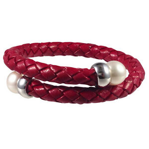 Freshwater-Cultured-Pearl-and-Red-Leather-Bangle-with-sterling-silver-roundels
