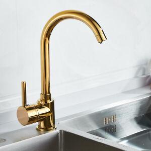 Modern Luxury Kitchen Sink Taps Hot & Cold Mixer Brass Gold Single ...