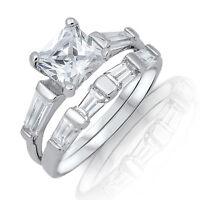 Princess Engagement & Baguette Eternity Genuine Sterling Silver Ring Set 2.17 Ct
