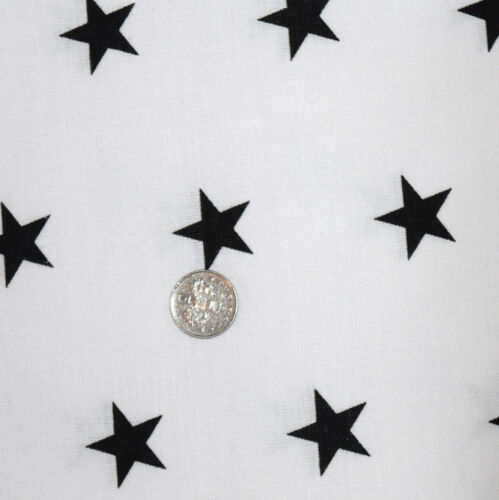 """Black /& White Stars   100/% COTTON FABRIC by meter EX WIDE 160CM 64/"""""""