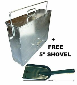 Large-Galvanised-Metal-Hot-Ash-Tidy-Box-Carrier-Bucket-Fireplace-FREE-SHOVEL
