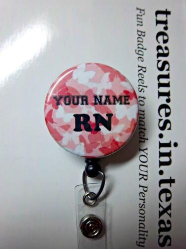 Personalized RN Nurse CAMO Butterflies PINK  Retractable Reel ID Badge Holder