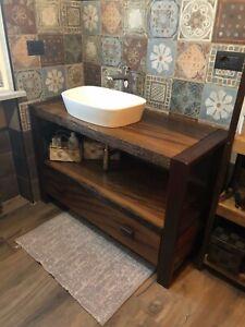 Dettagli su INDUSTRIALE Arredo mobile bagno design top in legno spazzolato  rovere antico