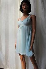 ROSY Paris ♛ GR 36 ♛ VINTAGE Babydoll Nachtkleid Tüll Betont Nylon Bleu  ❤914i