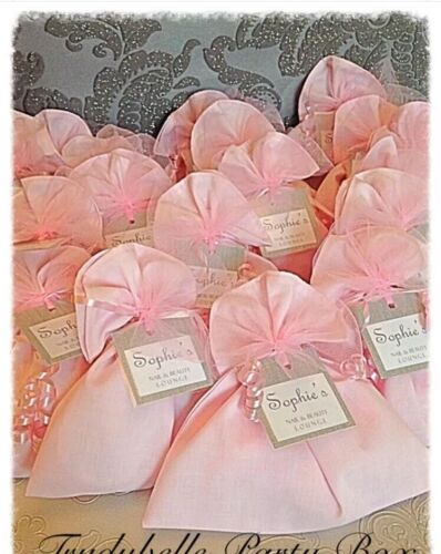 Pink Fabric Girls Pamper Spa Party Gift Loot Bags prefilled with 8 treat items
