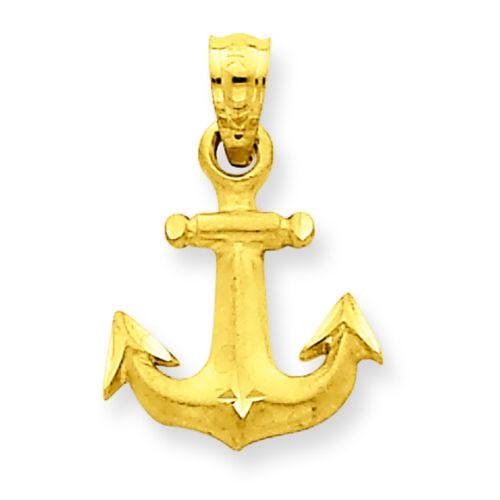 14K Yellow Gold Mini Anchor Charm Pendant MSRP $155