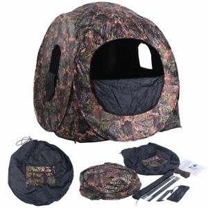 Portable Hunting Blind Pop Up Ground Camo Enclosure Weather Resistant