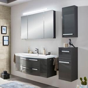 Details zu Badmöbel grau Waschtisch Hängeschrank Bad Wandschrank  Spiegelschrank Waschbecken