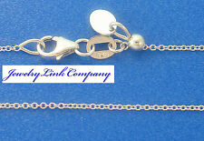 """Adjustable Oval Link Necklace 14K Solid White Gold  16"""" 1mm 1.6grams Italian"""