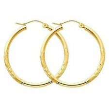 "1"" 2mm X 15mm Diamond Cut Hoop Earrings REAL 10K Yellow Gold"