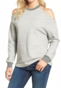 AG-Adriano-Goldschmied-Heathered-Cold-Shoulder-Sweatshirt-Gray-sz-small