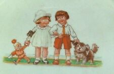 c1930 Baby Plate Hilda Cowham Girl Doll Boy Puppy
