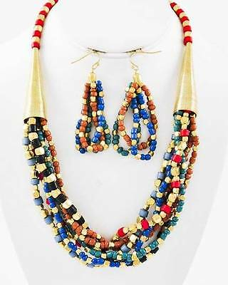MULTI STRAND LUCITE BEAD GOLD TONE BEAD NECKLACE EARRING