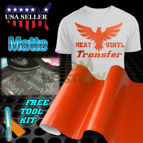 "Matte Orange Heat Transfer Vinyl HTV T-Shirt 20/"" Wide Roll Iron On Heat Press"