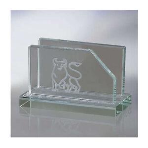 Image Is Loading Engraved GLASS BUSINESS CARD HOLDER For Desk Office