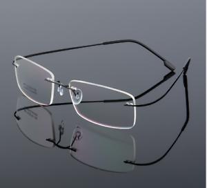 Flexible-titanium-alloy-rimless-Eyeglasses-Women-Men-glasses-Frames-optic-Black