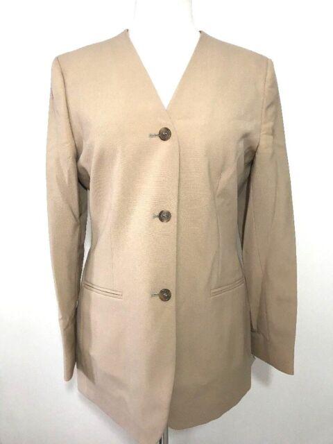 Burlington Reaford Women 8 Uniform Work Business Career Tan Blazer