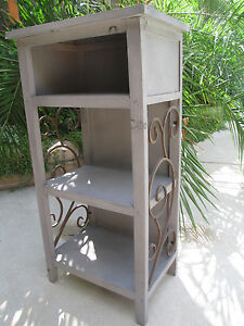 Cottage country wood rustic iron distress finish linen cabinet cupboard commod
