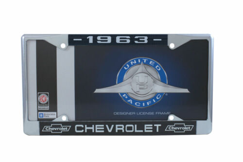 White Script 1963 Chevy Chrome License Plate Frame with Chevrolet Bowtie Blue