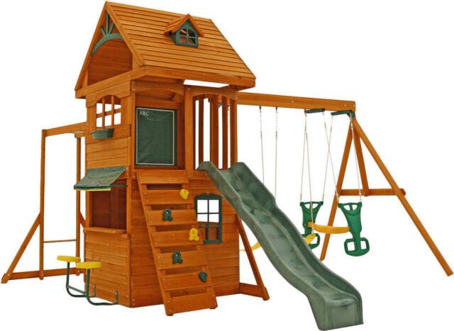 New Ridgeview Deluxe Wood Swing Set Kidkraft Rock Wall Ladder