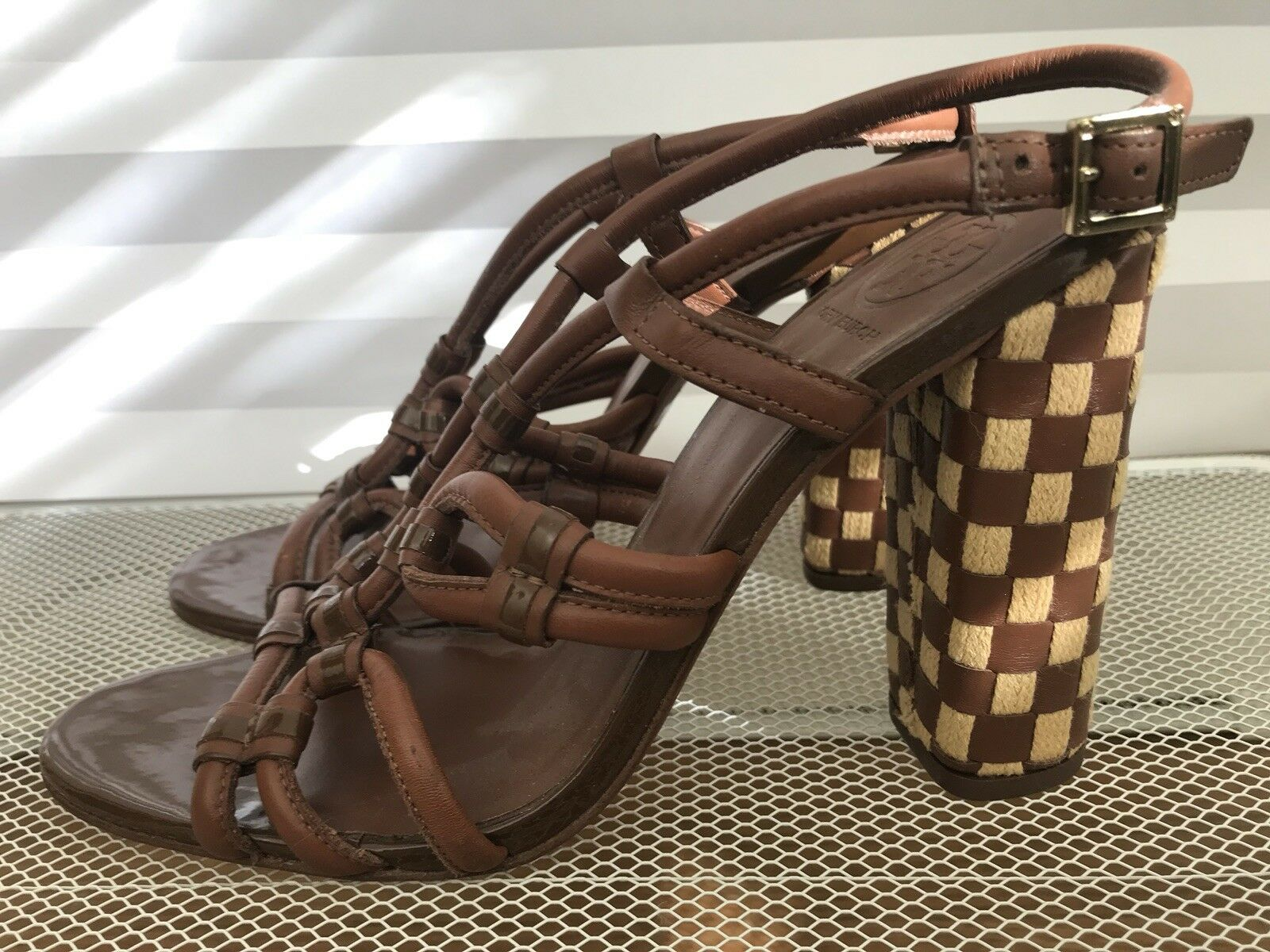 TORY BURCH Cognac marron marron marron Leather Strappy Heel Sandal - Taille 9.5 NWOB 5d3851