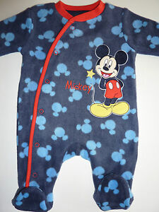 DISNEY-Really-Cute-MICKEY-MOUSE-Fleecy-Sleepsuit-First-Size-Up-9lbs-NWT
