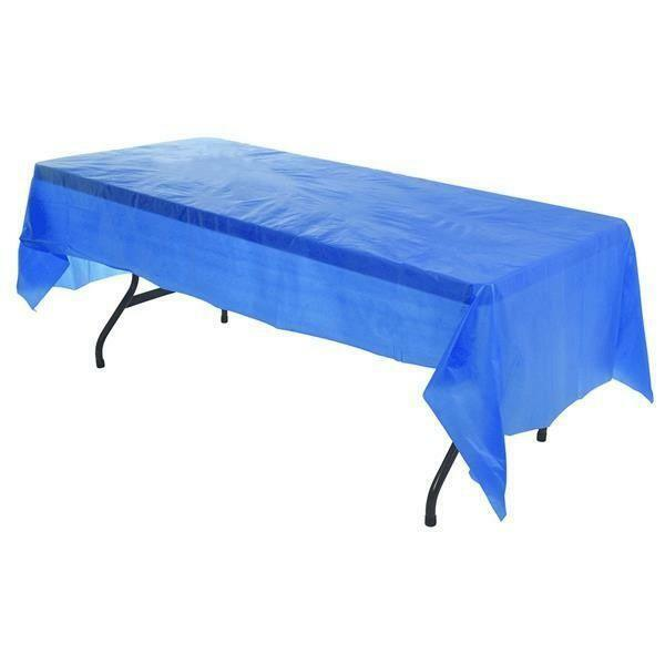 9ft Blue Plastic Tablecloth Table Cover Cloth Kids Party Wipe
