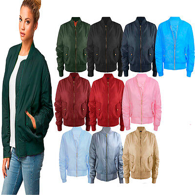 Ladies Womens Girls Military MA1 Padded Stylish Vintage Zip Up Bomber Jacket XS