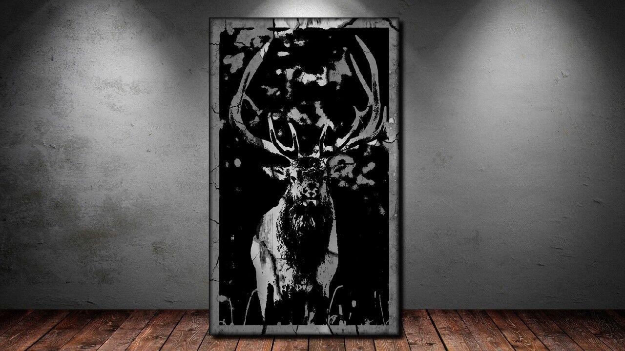 LEINWANDBILD ER XXL POP Kunst GRAFFITI HIRSCH GEWEIH ABSTRAKT POSTER -150x90